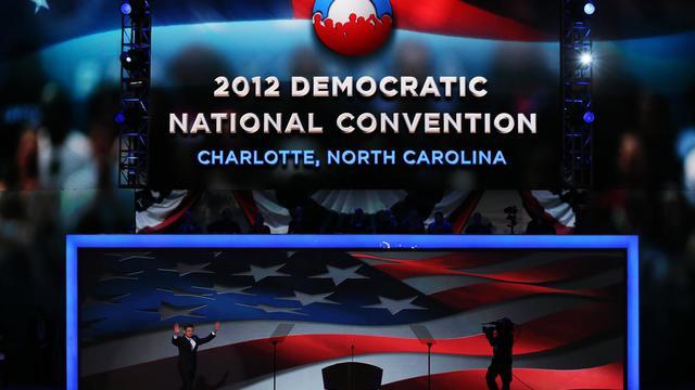 Barack Obama devait prendre possession de la scène jeudi soir au dernier jour de la convention démocrate de Charlotte dont il a reçu l'onction, avant d'entamer la dernière ligne droite de la campagne pour l'élection présidentielle américaine du 6 novembre. [GETTY IMAGES NORTH AMERICA]