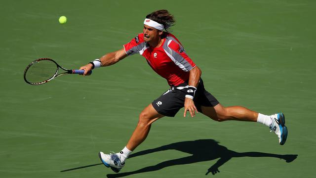 L'Espagnol David Ferrer lors de son match contre le Serbe Novak Djokovic en demi-finale de l'US Open le 9 septembre 2012 à New York [Cameron Spencer / AFP/Getty Images]