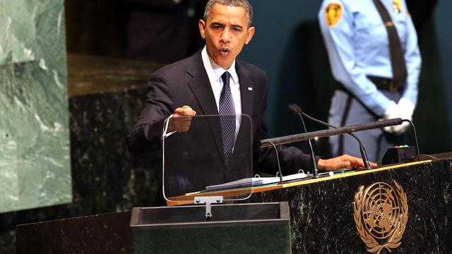 Barack Obama devant l'Assemblée générale de l'ONU le 25 septembre 2012 à New York [Spencer Platt / Getty Images/AFP]