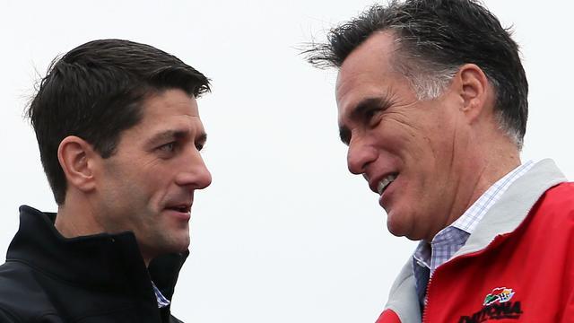 Le candidat républicain à la vice-présidence des Etats-Unis, Paul Ryan et Mitt Romney, le 25 septembre 2012 à Vandalia, dans l'Ohio [Alex Wong / Getty Images/AFP/Archives]