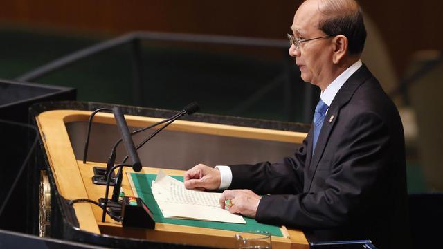 Thein Sein, le président birman, s'adresse le 27 septembre 2012 à l'Assemblée générale des Nations Unies [John Moore / Getty Images/AFP]