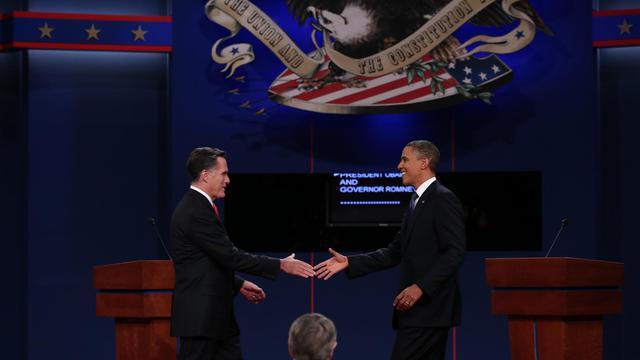 Mitt Romney et Barack Obama le 3 octobre 2012 avant leur premier débat télévisé à Denver [Win Mcnamee / Getty Images/AFP]