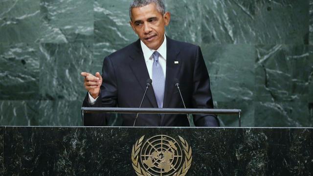 Le président américain Barack Obama à la tribune de l'Onu, le 28 septembre 2015 à New York [John Moore / Getty/AFP]