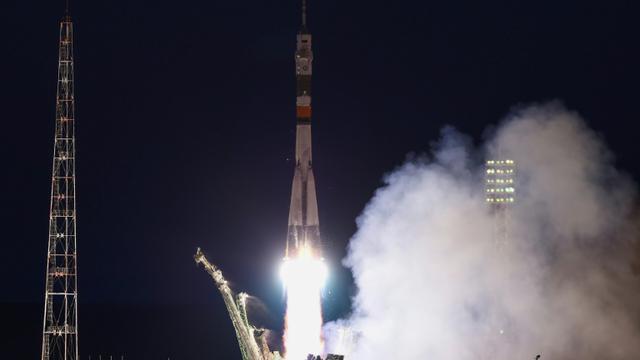 Une fusée Soyouz MS-05 décolle du cosmodrome de Baïkonour avec trois spationautes à son bord pour rejoindre l'ISS, le 28 juillet 2017 au Kazakhstan [VYACHESLAV OSELEDKO / AFP]