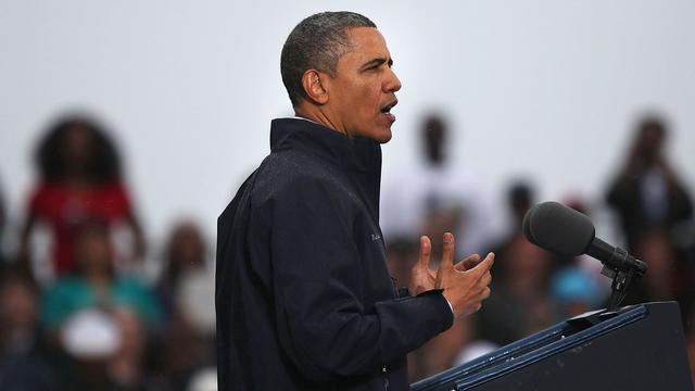 Barack Obama sous la pluie à Asbury Park (New Jersey), le 28 mai 2013 [Spencer Platt / Getty Images/AFP]