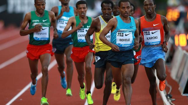 L'Ethiopien Kenenisa Bekele mène le train du 10.000 m lors de première journée de la la réunion d'athlétisme d'Eugene (Oregon) le 31 mai 2013 [Jonathan Ferrey / AFP/Getty Images]