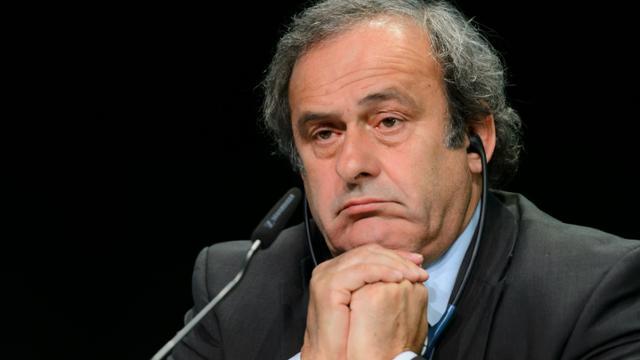 Michel Platini, alors président de l'UEFA, en conférence de presse lors du 65e congrès de la Fifa, le 28 mai 2015 à Zurich  [FABRICE COFFRINI / AFP/Archives]