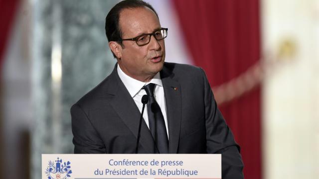Le président François Hollande lors de la 6e conférence de presse du quinquennat le 7 septembre 2015 à l'Elysée à Paris [ALAIN JOCARD / AFP]