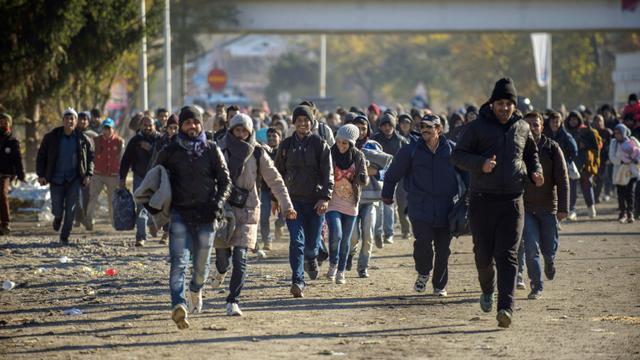 Réfugiés et migrants traversent la frontière entre la Slovenie et l'Autriche à Sentilj, le 3 novembre 2015 [Rene Gomolj / AFP]