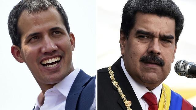 Montage de portraits de l'opposant vénézuélien Juan Guaido (gauche) et du président Nicolas Maduro (droite) [STF / AFP]