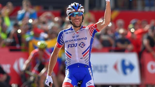 Thibaut Pinot vainqueur de la 19e étape du Tour d'Espagne le 14 septembre 2018 [ANDER GILLENEA / AFP]