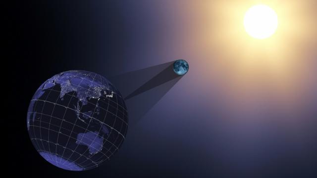 Illustration du 21 juin 2017 de la Nasa représentant la Terre, la Lune et le Soleil lors d'une éclipse  [Handout / NASA/AFP/Archives]
