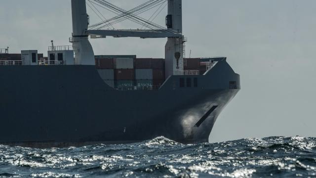 Photo du cargo saoudien Bahri Yanbu, le 9 mai 2019 au large du Havre [LOIC VENANCE / AFP]