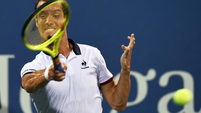 Richard Gasquet lors du match qu'il a remporté contre Tomas Berdych en 8e de finale de l'US Open de tennis le 7 septembre 2015 à New York [JEWEL SAMAD / AFP]