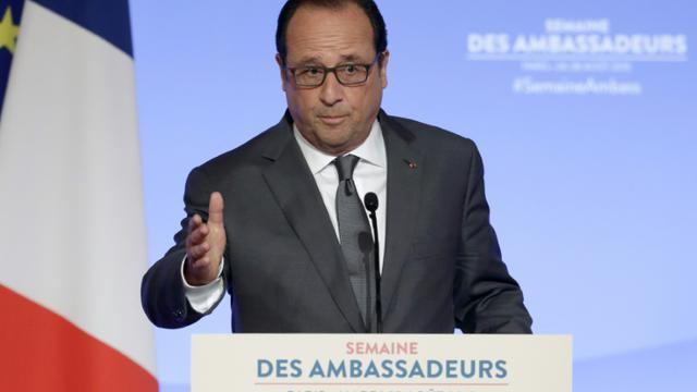 François Hollande s'adresse à la conférence des ambassadeurs, le 25 août 2015 au palais de l'Elysée, à Paris [PHILIPPE WOJAZER / POOL/AFP]