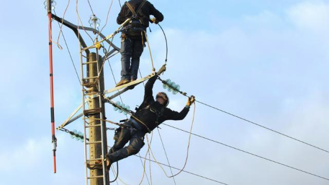 Des techniciens d'EDF sur un ligne endommagée le 11 février 2009 à Nuaille-d'Aunis [XAVIER LEOTY / AFP/Archives]