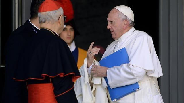 Le pape François lors du synode sur la famille le 23 octobre 2015 au Vatican [FILIPPO MONTEFORTE / AFP]