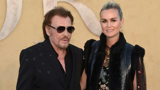 Johnny Hallyday et son épouse Laeticia Hallyday à Calabasas en Californie, le 11 mai 2017 [CHRIS DELMAS / AFP/Archives]