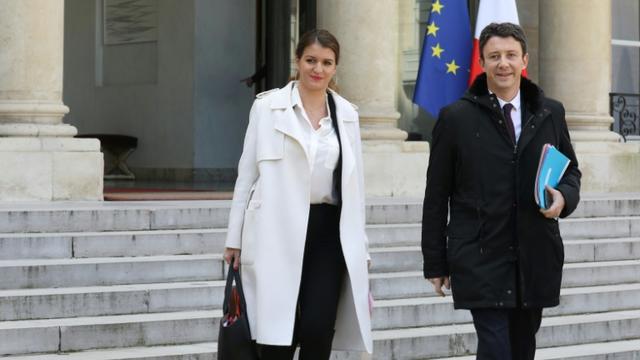 Marlène Schiappa et Benjamin Griveaux le 21 mars 2018 à l'Elysée [LUDOVIC MARIN / AFP]