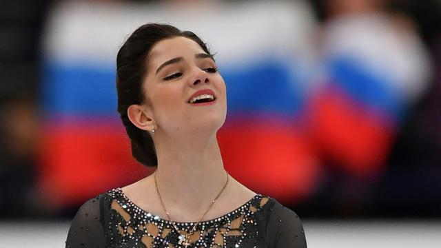 La Russe Evgenia Medvedeva sacrée championne du monde de patinage artistique, le 31 mars 2017 à Helsinki, en Finlande [Daniel MIHAILESCU / AFP]