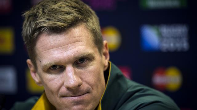 Le capitaine et centre de l'équipe d'Afrique du Sud, Jean de Villiers lors d'une conférence de presse le 25 septembre 2015 à Birmingham [LIONEL BONAVENTURE / AFP]