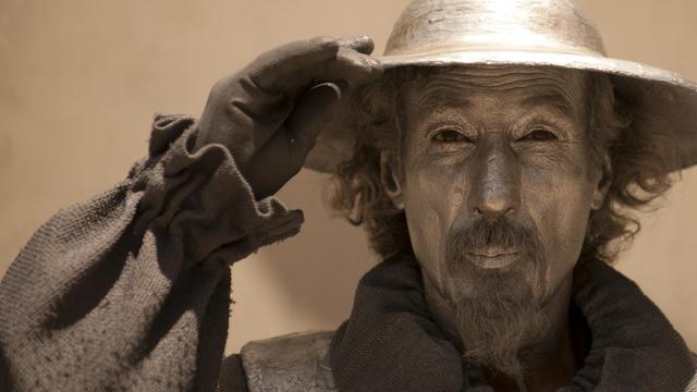 Un artiste de rue en costume de Don Quichotte, le 17 juin 2013 à Malaga en Espagne [Jorge Guerrero / AFP/Archives]