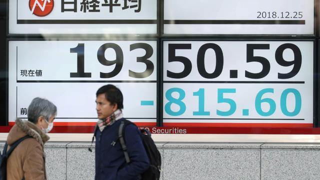 Des piétons passent devant un tableau d'indices boursniers, le 25 décembre 2018 à Tokyo, au Japon [JIJI PRESS / JIJI PRESS/AFP]