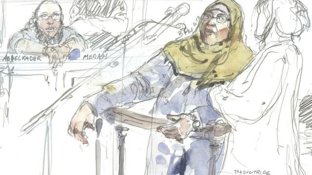 Zoulikha Aziri la mère de Mohamed Merah devant les assises de Paris, le 18 octobre 2017 [Benoit PEYRUCQ / AFP]