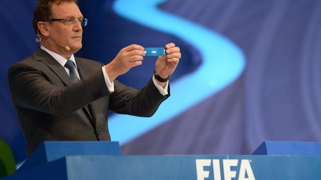 Le secrétaire général de la Fifa, Jerôme Valcke, lors du tirage au sort du Mondial-2014 au Brésil à Costa do Sauipe, Etat de Bahia, le 6 décembre 2013 [Vanderlei Almeida / AFP]
