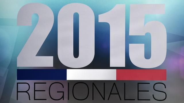 Le logo des élections régionales 2015 lors d'un débat le 2 décembre 2015 à Strasbourg pour la région Alsace-Champagne-Ardenne-Lorraine [FREDERICK FLORIN / AFP/Archives]
