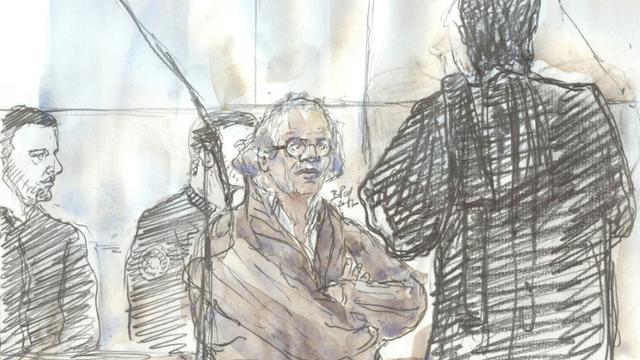 Croquis d'audience du procès d'Abdelhakim Dekhar, jugé aux assises pour tentatives d'assassinat en 2013 à Paris, le 17 novembre 2017 [Benoit PEYRUCQ / AFP/Archives]