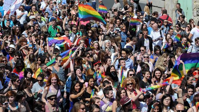 Des personnes participent à une gay pride, le 1er juin 2013 à Montpellier [Sylvain Thomas / AFP/Archives]