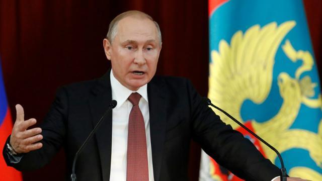 Le président russe Vladimir Poutine intervient devant les ambassadeurs de Russie réunis à Moscou, le 19 juillet 2018 [SERGEI KARPUKHIN / POOL/AFP]
