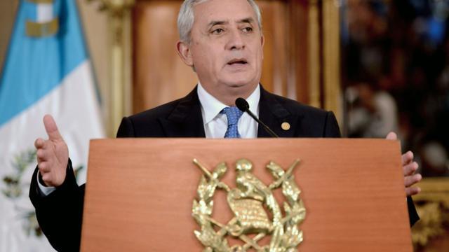 Le président guatémaltèque Otto Pérez, lors d'une conférence de presse, le 31 août 2015 à Guatemala [ORLANDO SIERRA / AFP/Archives]