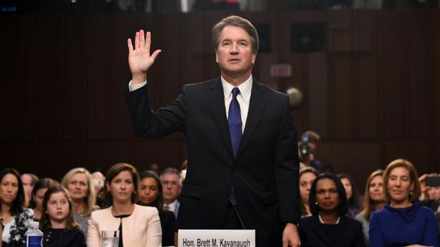 Le candidat de Donald Trump à la Cour suprême, Brett Kavanaugh, devant la commission judiciaire du Sénat américain le 4 septembre 2018  [SAUL LOEB / AFP]