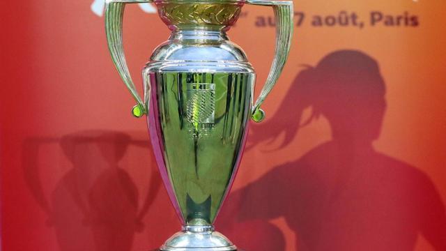 Le trophée de la Coupe du monde 2014 de rugby, présenté le 19 avril 2014 au stade Jean-Bouin à Paris [Jacques Demarthon / AFP/Archives]