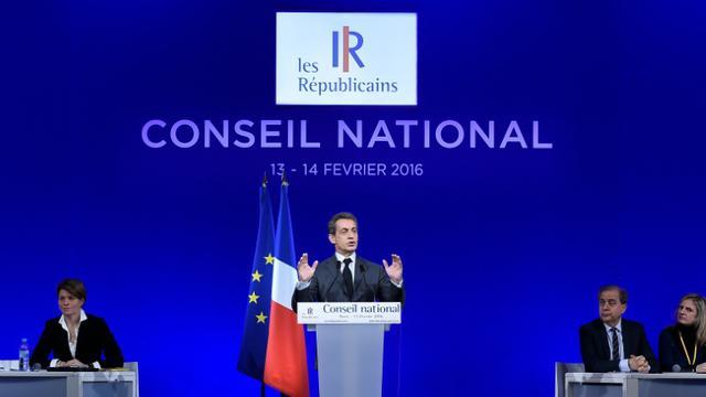 Nicolas Sarkozy à l'ouverture du Conseil national (CN) du parti Les Républicains à Paris, le 13 février 2016 [LIONEL BONAVENTURE / AFP]