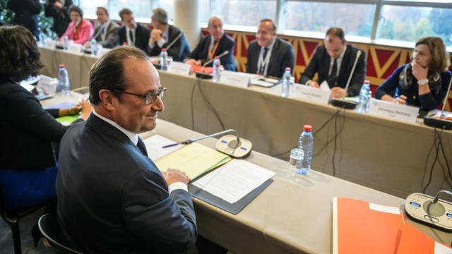 Le président François Hollande à l'ouverture de la  quatrième conférence sociale le 19 octobre 2015 à Paris [CHRISTOPHE PETIT TESSON / POOL/AFP]
