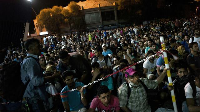 Des centaines de migrants rassemblés le 7 septembre 2015 au port de Lesbos en Grèce  [ANGELOS TZORTZINIS / AFP]