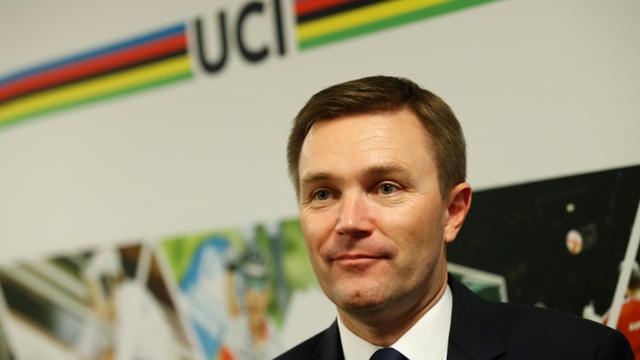 David Lappartient, président de l'UCI, lors d'une conférence de presse à Bergen, en Norvège, le 21 septembre 2017 [Cornelius Poppe / NTB scanpix/AFP/Archives]