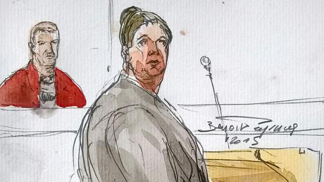 Croquis d'audience de la mère de Bastien, Charlène Cotte (d), et de son père Christophe Champenois (g) lors de leur procès devant les assises de Seine-et-Marne à Melun, le 8 septembre 2015 [Benoit Peyrucq / AFP]