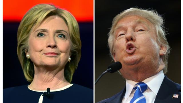 La candidate démocrate à la présidentielle américaine Hillary Clinton (g) à Las Vegas, dans le Nevada, le 13 octobre 2015 et son homologue républicain Donald Trump le 14 octobre 2015 à Richmond, dans le Virginie [ / AFP/Archives]