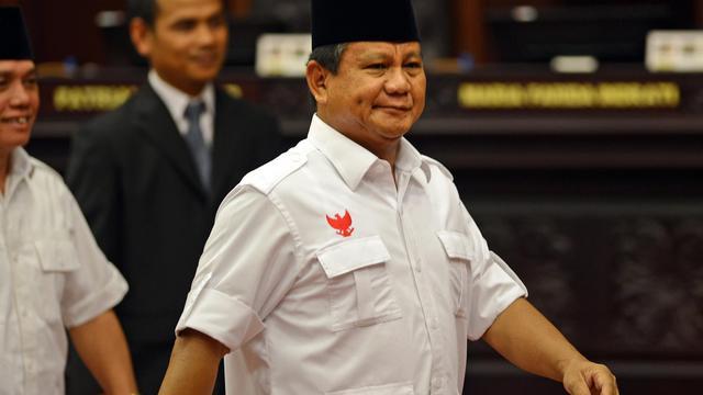 Prabowo Subianto qui a perdu à l'élection présidentielle indonésienne à son arrivée à la Cour constitutionnelle de Jakarta le 6 août 2014 [Romeo Gacad / AFP/Archives]