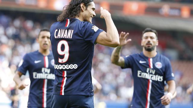 L'attaquant uruguayen du PSG Edinson Cavani lors du match contre Bastia, le 16 août 2014 au Parc des Princes [Thomas Samson / AFP/Archives]