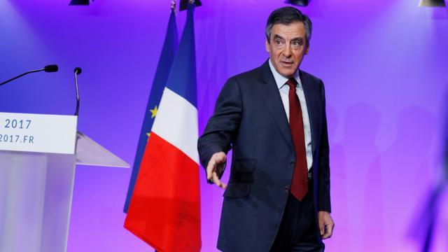 François Fillon lors de ses voeux à la presse le 10 janvier 2017 à Paris [THOMAS SAMSON / AFP]