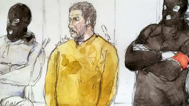 Croquis d'audience montrant Mehdi Nemmouche lors de son procès à Bruxelles le 10 janvier 2019. [Benoit PEYRUCQ / AFP]