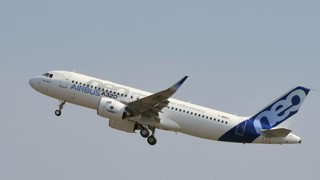 Un A320neo au décollage, à l'occasion de son premier vol d'essai, le 25 septembre 2014 à Blagnac, près de Toulouse [ERIC CABANIS / AFP/Archives]