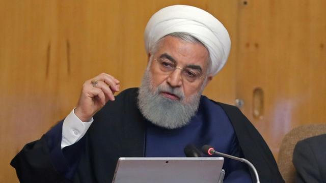Le président iranien Hassan Rohani lors du Conseil des ministres à Téhéran le 8 mai 2019. Photo fournie par la présidence iranienne [HO / Iranian Presidency/AFP]
