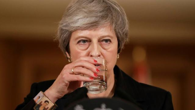 La Première ministre britannique Theresa May lors d'une conférence de presse à Londres, le 15 novembre 2018 [Matt Dunham / POOL/AFP/Archives]
