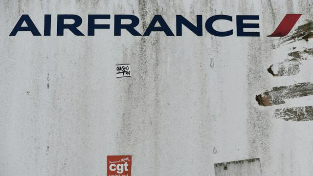 Vue du logo d'Air France au siège de la compagnie aérienne à l'aéroport Charles de Gaulle à Roissy au nord de Paris, le 11 avril 2018 [Philippe LOPEZ / AFP]